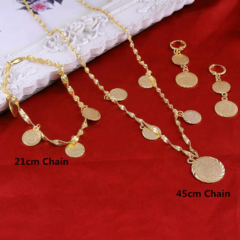 Bracele tNecklaceEarrings set Islamic Muslim Arab Coin Money Sign Women Gold Color Filled Middle Eastern Africa Jewelry Gift