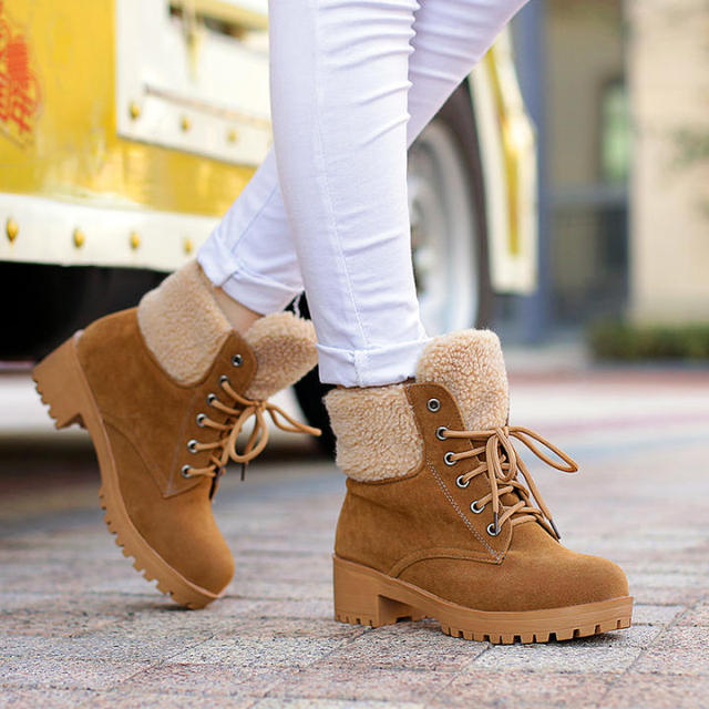 Autumn winter women waterproof series outdoor boots brand Leather Warm Snow  Boots Leisure Martin tims boots sneakers square heel 313f037a7419
