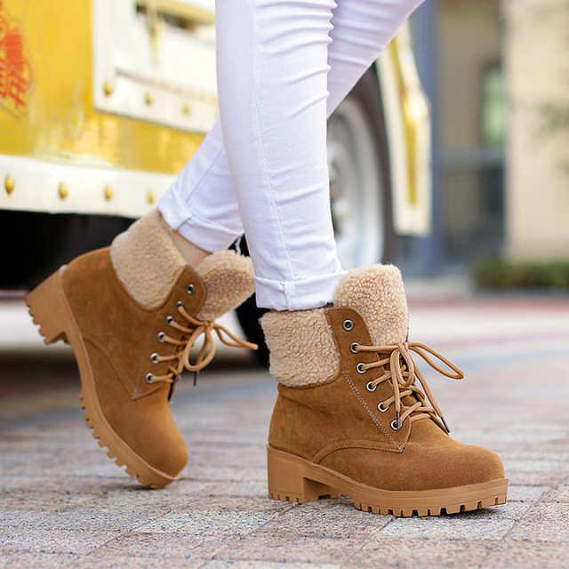 Finden Sie den niedrigsten Preis neue bilder von niedriger Preis Autumn winter women waterproof series outdoor boots brand Leather Warm Snow  Boots Leisure Martin tims boots sneakers square heel