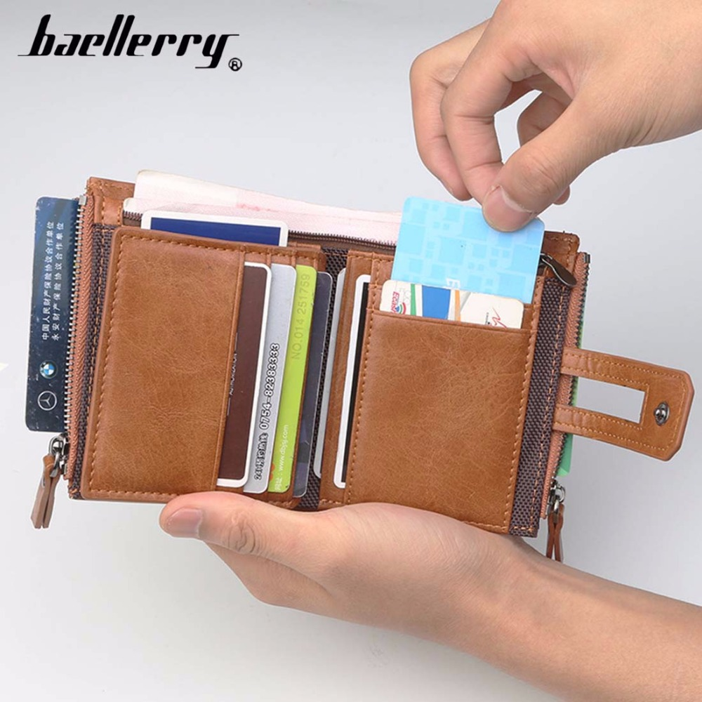 2019 Baellerry Men Wallets Double Zipper PU Leather Card Holder Female Purse Coin Pocket Short Style Top Quality Men Purse in Wallets from Luggage Bags