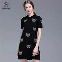 KirbyGee Cotton Diamond Embroidered Beading Dress Summer Black Women Turn Down Collar Cat Graphic Straight Dress Short Sleeve