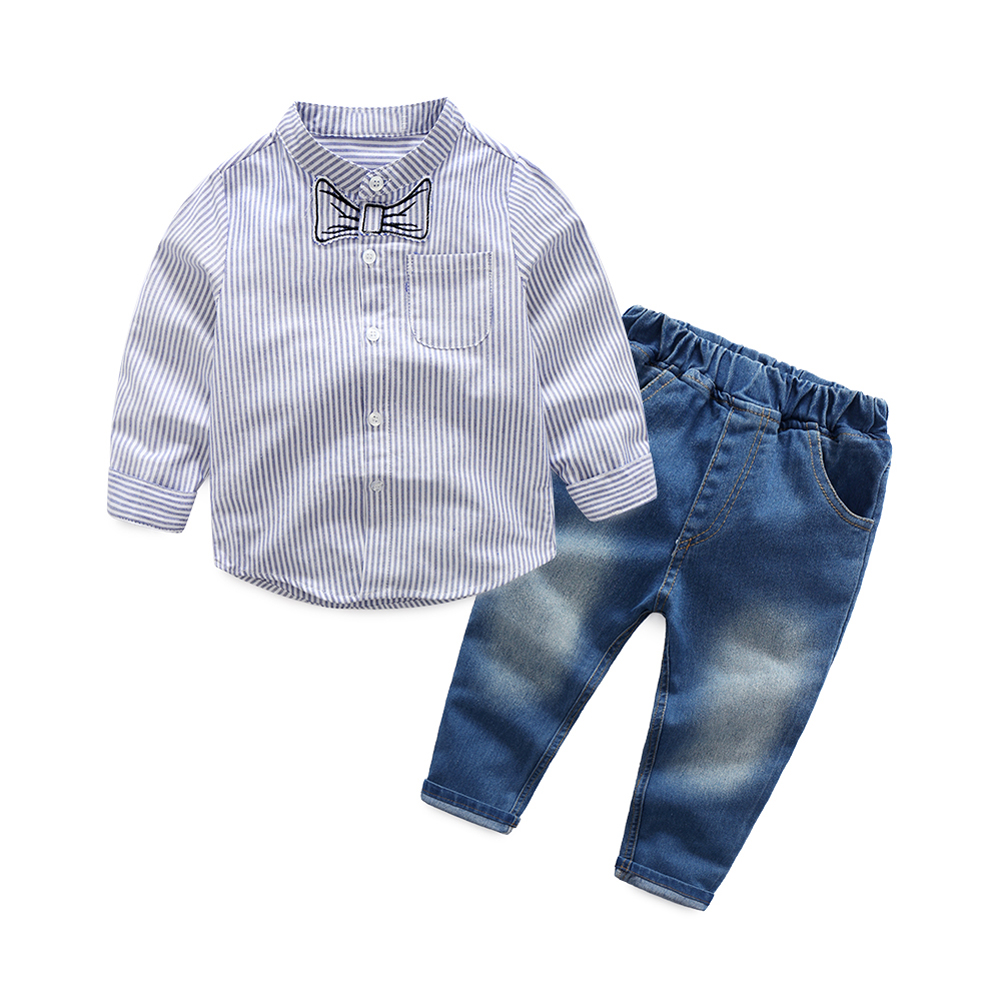 2017 New gentleman boys clothes Long Sleeve Striped Shirt Tops + Jeans Denim Pants Outfit Set Turn-down Collar Kids Clothes Set 2pcs children outfit clothes kids baby girl off shoulder cotton ruffled sleeve tops striped t shirt blue denim jeans sunsuit set