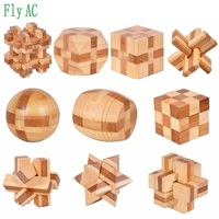 3D Handmade Vintage Ming Lock Luban Lock Wooden Toys Adults Puzzle Children Christmas Gift 9 Pcs