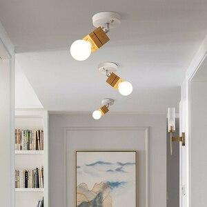 Image 4 - EL LED tavan ışık demir ahşap İskandinav Modern tavan lambası oturma odası yatak odası için dekorasyon fikstür koridor mutfak