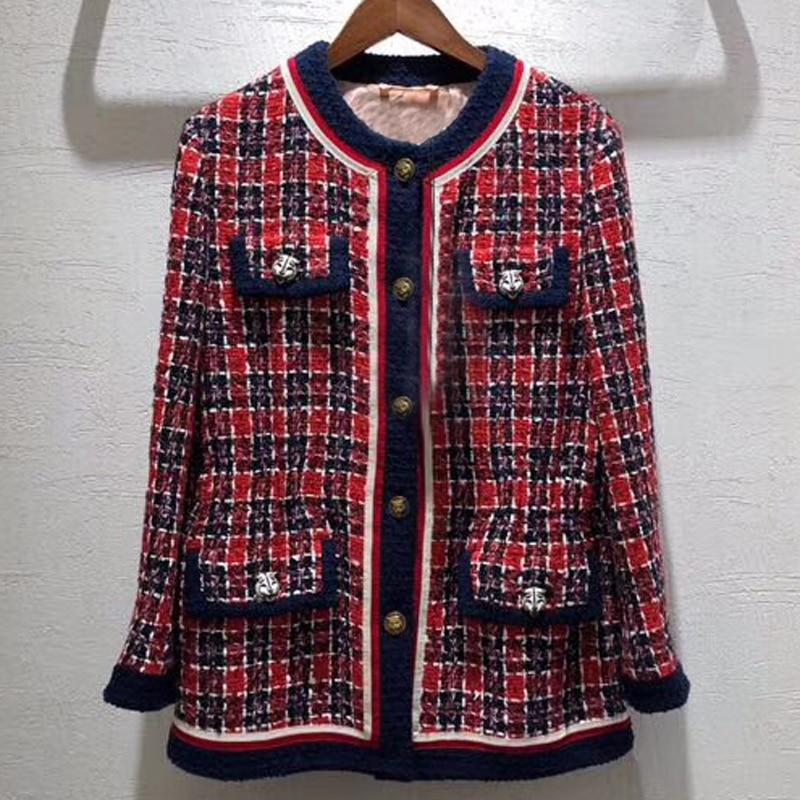 Осень клетчатая куртка Для женщин 2018 с круглым вырезом куртка с длинными рукавами Для женщин Мода твидовый пиджак пальто