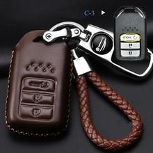 Cowhide leather Car key Case for Honda Civic City XRV CRV URV Accord Odyssey Fit VEZEL CRIDER Metal Auto Key parts coffee все цены
