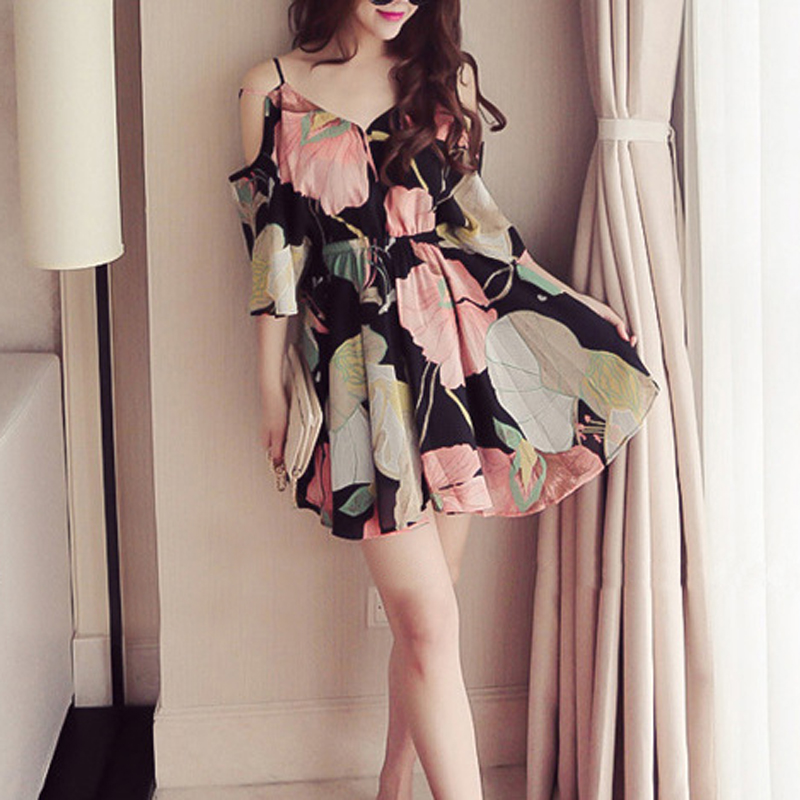 Fashion Women Casual Sexy V Neck Short Sleeve Floral Pattern Mini Dress