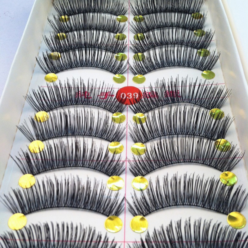 40 Pairs/lot Handmade Fake False Eyelash Natural Look Cotton Black Stalk  Freeshipping