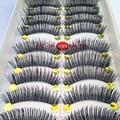40 Par/lote Handmade Falsos Pestañas Falsas Naturales Look Tallo de Algodón Negro Maquillaje Pestañas Falsas Del Latigazo Del Ojo Para La Construcción