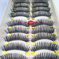 40 Pares/lote Handmade de Cílios Falsos Cílios falsos Natural Look Preto de Algodão Stalk Eye Lash Para A Construção de Maquiagem Cílios Postiços