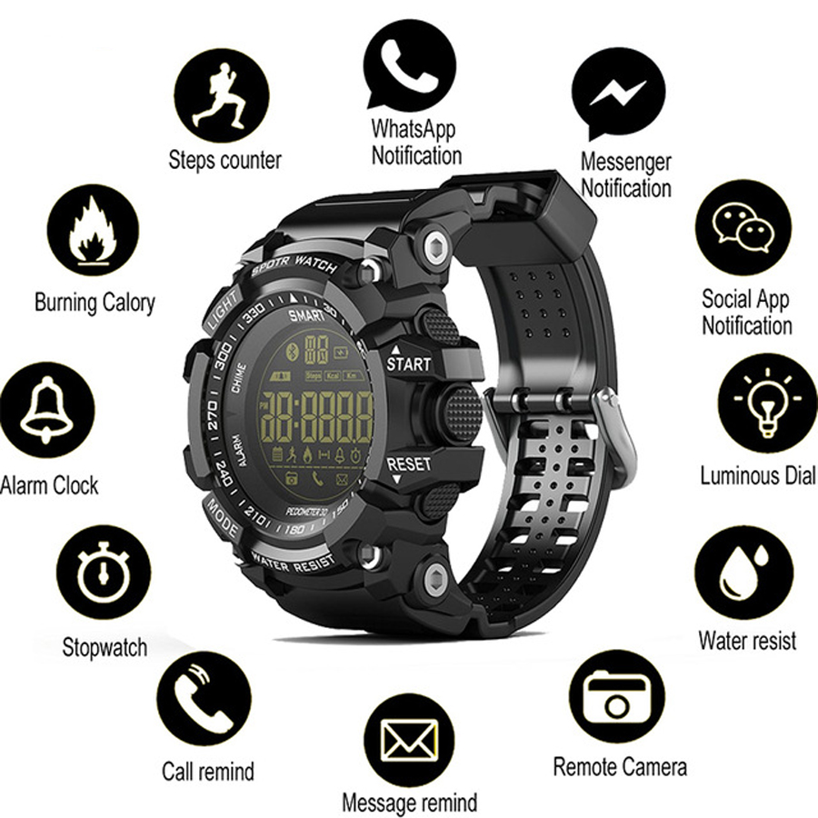 Digital Smart Bracelet Watch Men Outdoor Sport Watches Men Waterproof Military Digital Watch Bluetooth Remote Control Smartwatch