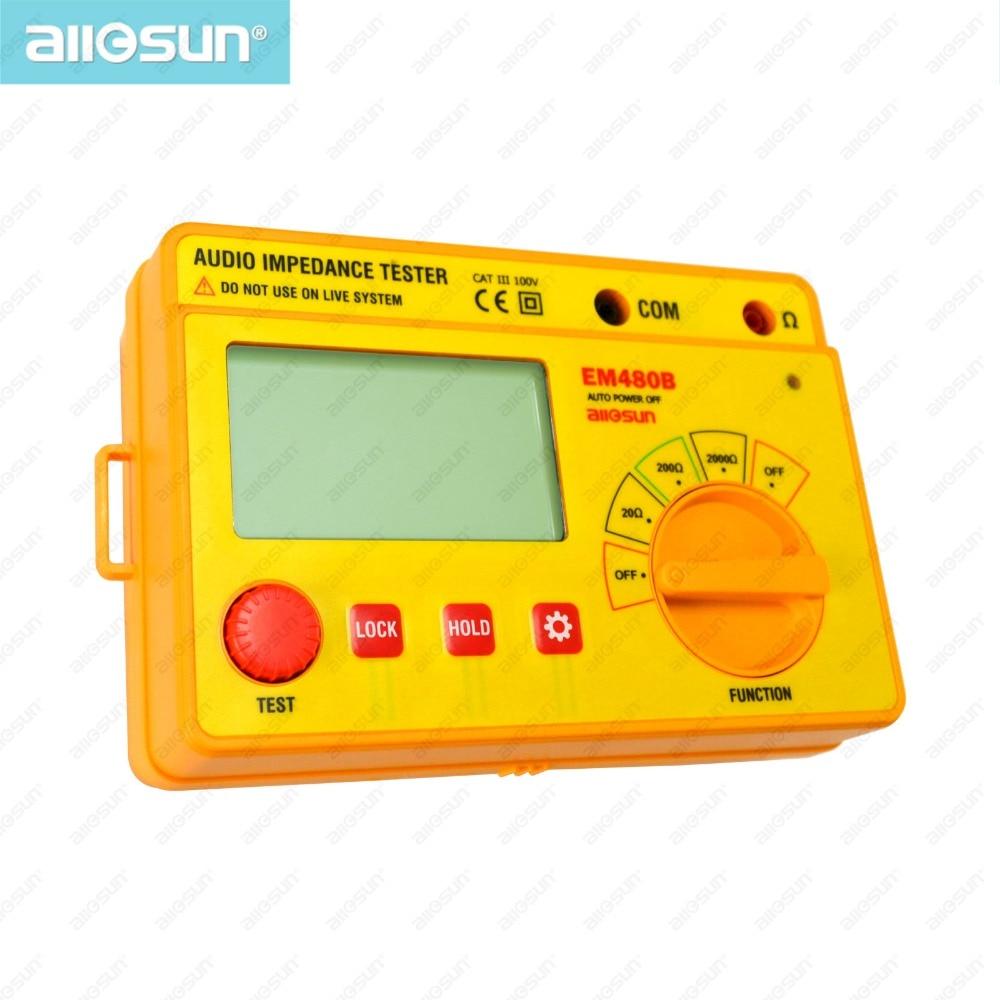 ALL SUN EM480B Probador de impedancia de audio Rangos de prueba CATIII portátiles 20/200/2000 Medidor de resistencia Función de temporizador de 1 kHz Retención de datos