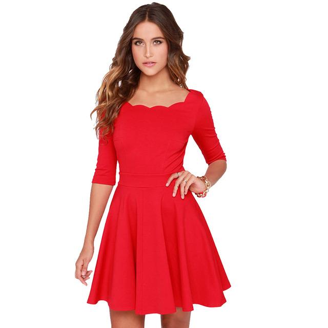 Tengo Mulheres Túnica Magro Flared Ondulado Decote Vestido Vermelho Mulheres Marca Sexy Casual Vestidos de Festa de Verão para as mulheres Ano Novo