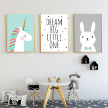 Rabbit Canvas Art Print Nordic Nursery Cartoon Animals Poster And Prints Kids Room Quotes Posters Unframed