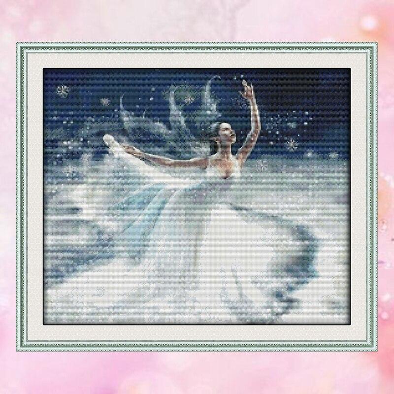 Joysunday Geteld Crossstitch Ballet Ijs Meisje Dmc14ct11ct Katoen Handwerkpakketten Livingroom Slaapkamer Babykamer Schilderen Groothandel Verfrissend En Weldadig Voor De Ogen