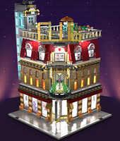 2488pcs MOC City StreetView 5in1 Nightclub Bar Compatible Resort Hote Building Blocks Bricks Streetscape With LED Light