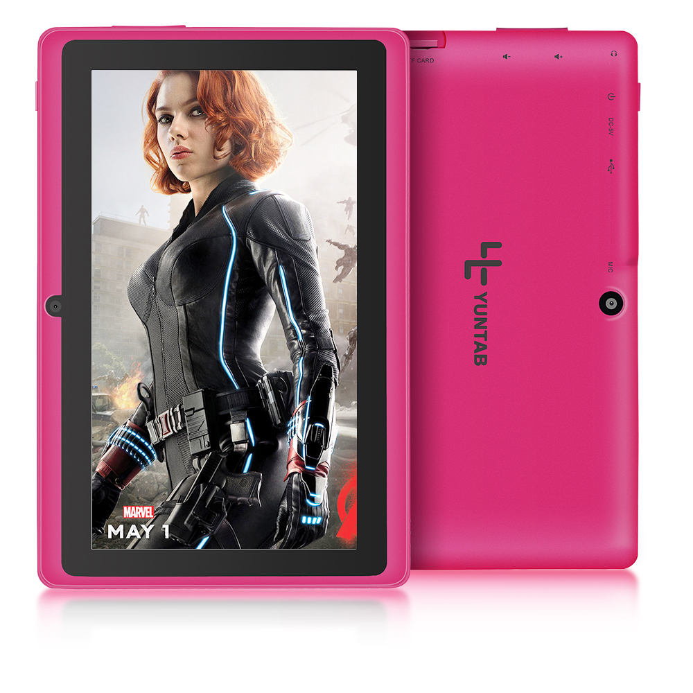 Yuntab 7 Q88 Tablet Allwinner A33 Quad Core Android 4.4 8GB Dual Camera  WIFI Google APP Play 5 Color with Bluetooth yuntab7 inch quad core q88 1 5ghz android 4 4 tablet pc q88 allwinner a33 512mb 8gb capacitive screen 1024x600 dual camera wifi