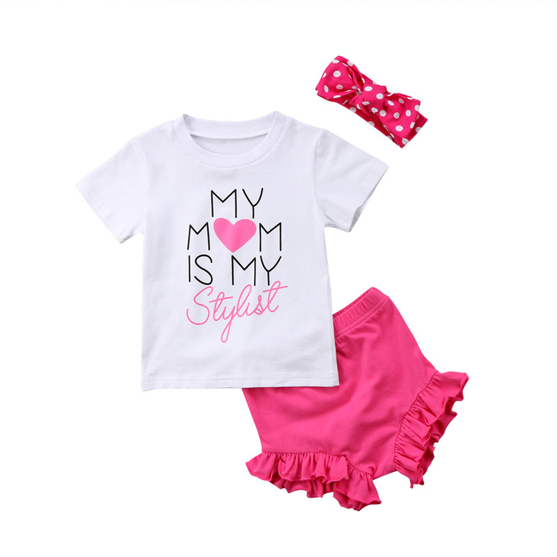 Summer Baby Girls Clothes 2018 New Baby Girl Short Sleeve Letter Printed T-shirt+Shorts Pants 3pcs Outfits Kids Girl Clothes Set ...
