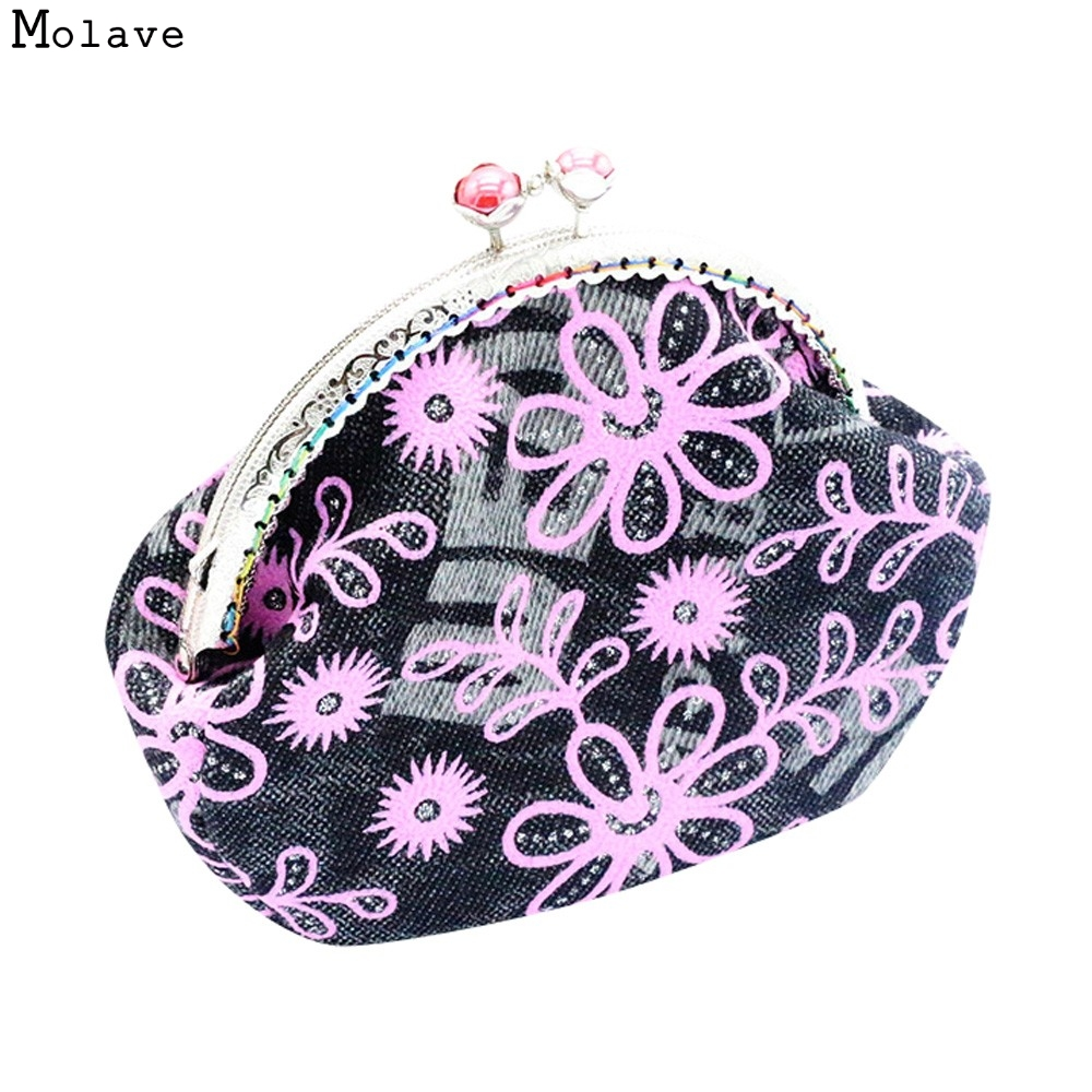 Naivety drop shipping Coin Purse New Women Retro Flower Small Wallet Hasp Coins Pocket Clutch Bag AUG18