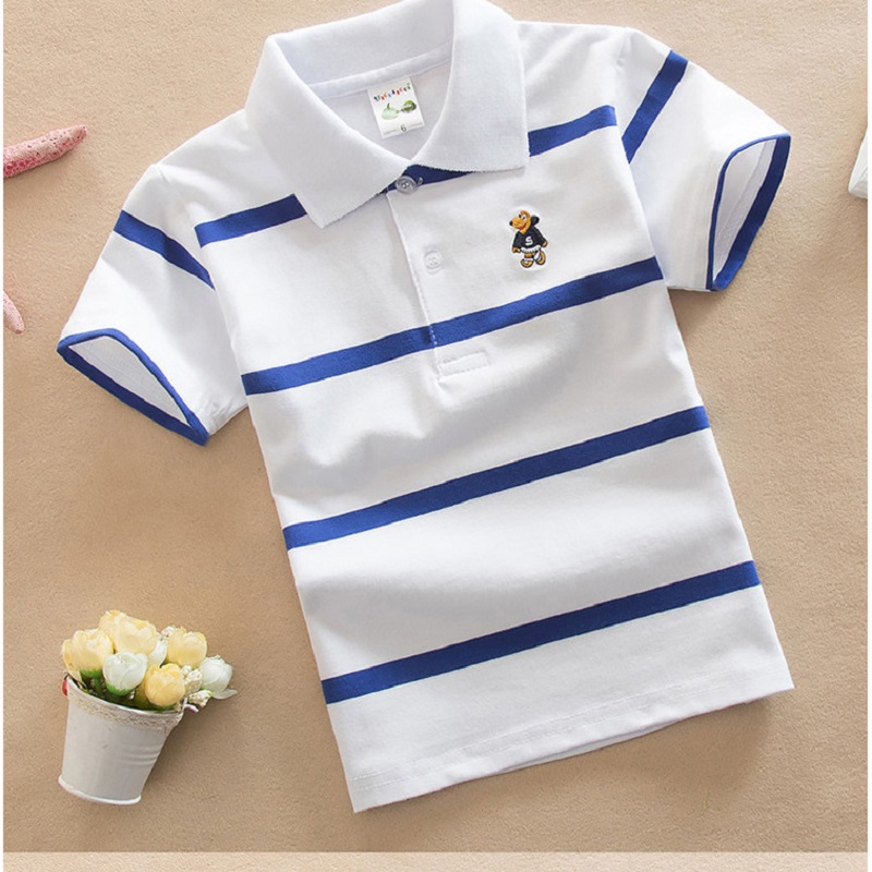 2-10-16Y Baby Boys Striped Summer Polo Shirts Cotton Short Sleeve Turn-down Collar Butto ...