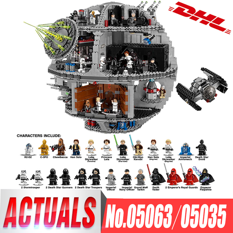 DHL Lepin 05063 05035 Star Series Wars UCS Death Star Educational Building Blocks Bricks Toys Compatible LegoINGlys 75159 10188 dhl lepin 05063 4016pcs star plan series wars death star building block bricks toys kits compatible legoing 75159 christmas gift