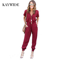 Kaywide 2018 Zomer Sexy V-hals Geplooide Taille Pocket Rompertjes Womens Jumpsuit Losse Kruis Overalls Korte Mouwen Playsuit S-XL