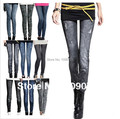 Free Shipping High Elastic Autumn Polyester/Spandex Jean Hole Pleated Prints Faux Imitation Denim Printed Fashion Leggings Women