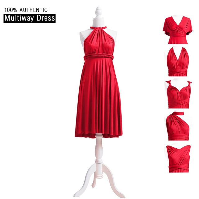 Red Bridesmaid Dress Infinity Dress Ruby Short Convertible Dress Plus MultiWay  Wrap Dress With Halter Straps Styles 1a2d09d96