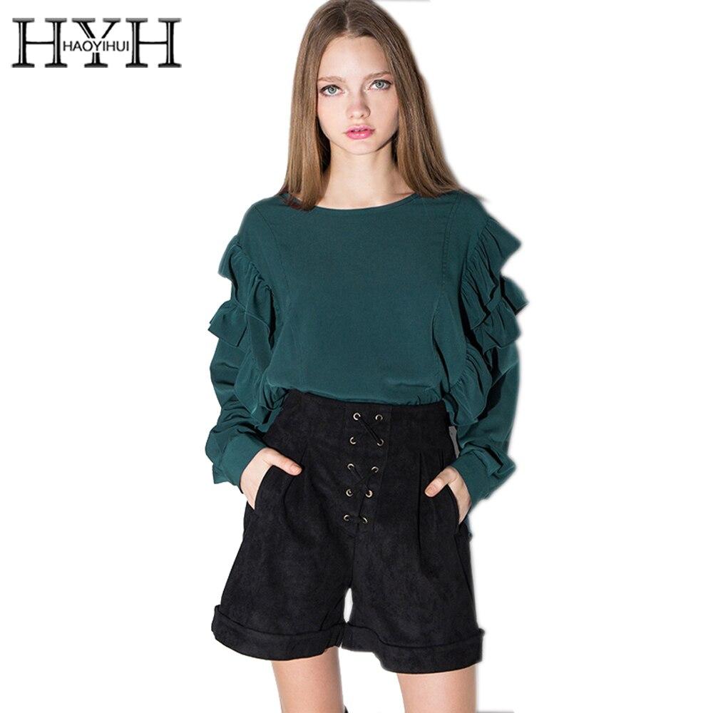 HYH HAOYIHUI Malachite Green Blouses Shirt Women Frill Single Button Cut Out Pullover Ladies High Low