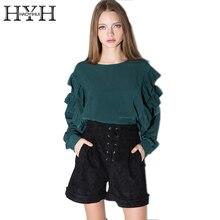 HYH haoyihui малахитовый зеленый Блузки для малышек рубашка Для женщин жабо одной кнопки Cut Out пуловер дамы высокий низкий о-образным вырезом свободные блузки