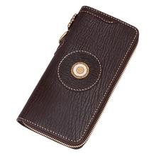 High end Handmade Gifts Handmade Men Genuine Leather Sharkskin Card Holder Zipper Wallets Clutch Vegetable Tanned