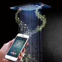 Роскошные разноцветные светодиодные Насадки для душа душ Динамик квадрат потолка SUS304 хромированной насадкой Ванная комната Bluetooth музыку т