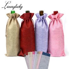 15x35cm Natural Hessian Burlap Drawstring Gifts Bags Jewelry Pouches Rustic Jute Wine Bottle Cover Bag For Wedding Christmas