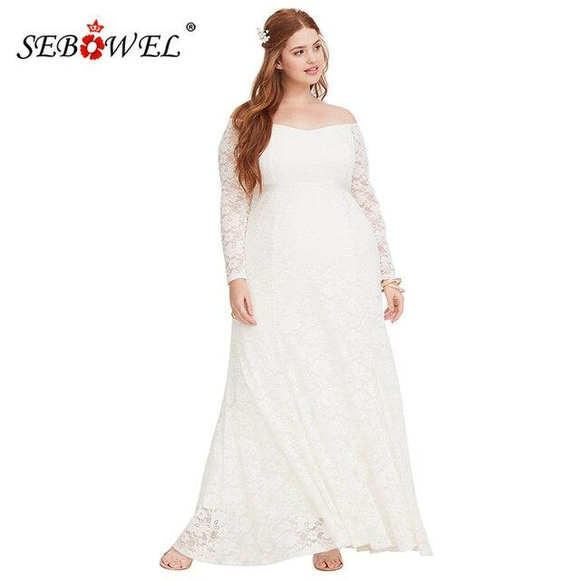 a3b6633908e SEBOWEL Elegant Wedding White Flower Lace Long Party Dress Women Autumn Plus  size Off Shoulder Long Sleeve Maxi Dresses 5XL