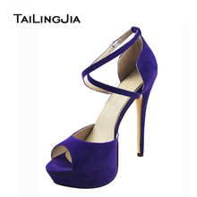 2016 Peep Toe Cover Heel Platform High Heel Shoes Cross Strap Sandals Mysterious Purple High Heel Woman Shoes  Free Shipping