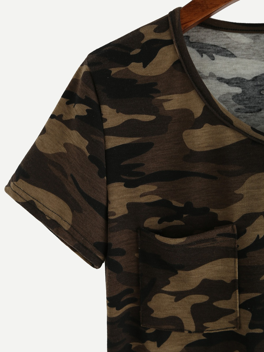 dffdf5b9b9c498 Short sleeve Military Army camouflage green t shirts women V neck Casual  summer tops with Pocket Fashion cotton t shirt WQ189-in T-Shirts from  Women's ...