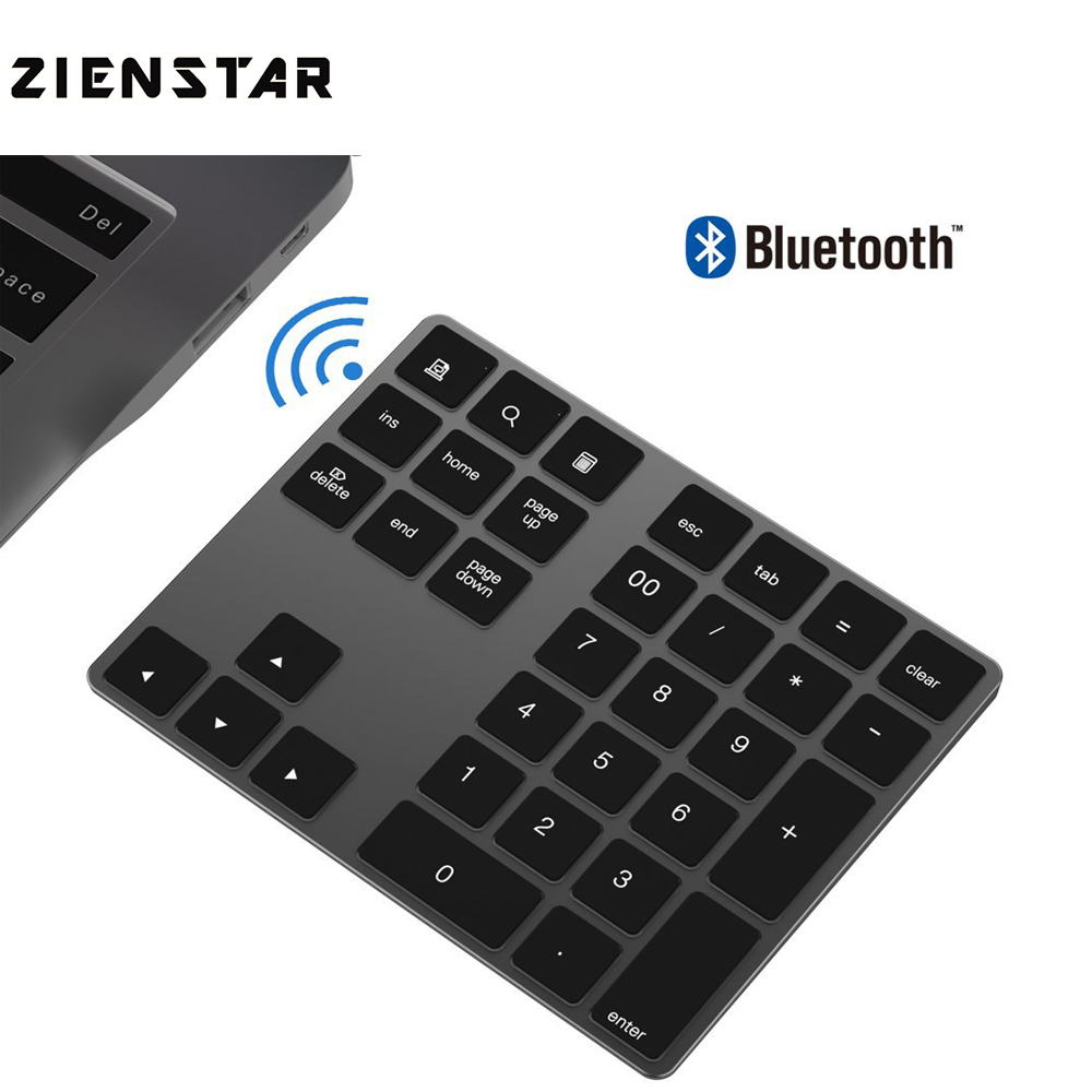 Zienstar Bluetooth Numeric Keypad,Portable Wireless 34-key External Number Pads For Computer Laptop,Macbook,Android Tablet