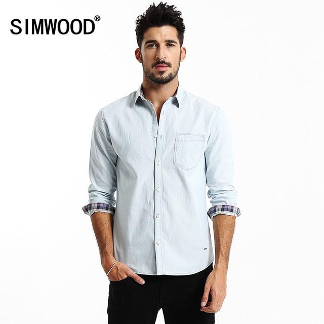2016 Nueva Llegada de Los Hombres Simwood Ropa Camisa de manga larga A Rayas Ocasionales Adelgazan Las Camisas Aptas CS1530 Más Tamaño Envío Libre