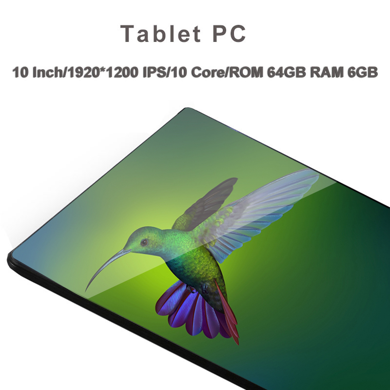 2019 New 10 Core 10 Inch Tablet Pc Android 8.0 1920*1200 IPS RAM 6GB ROM 64GB Dual SIM Card 8MP Camera 2.4/5G WIFI Tablets 10.1