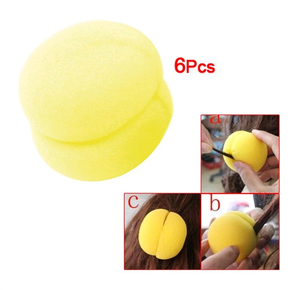 6 Pcs Yellow Sponge Ball Hair Styler Curler Roller Tool for Lady cute strawberry style hair curler balls red green 6 pcs
