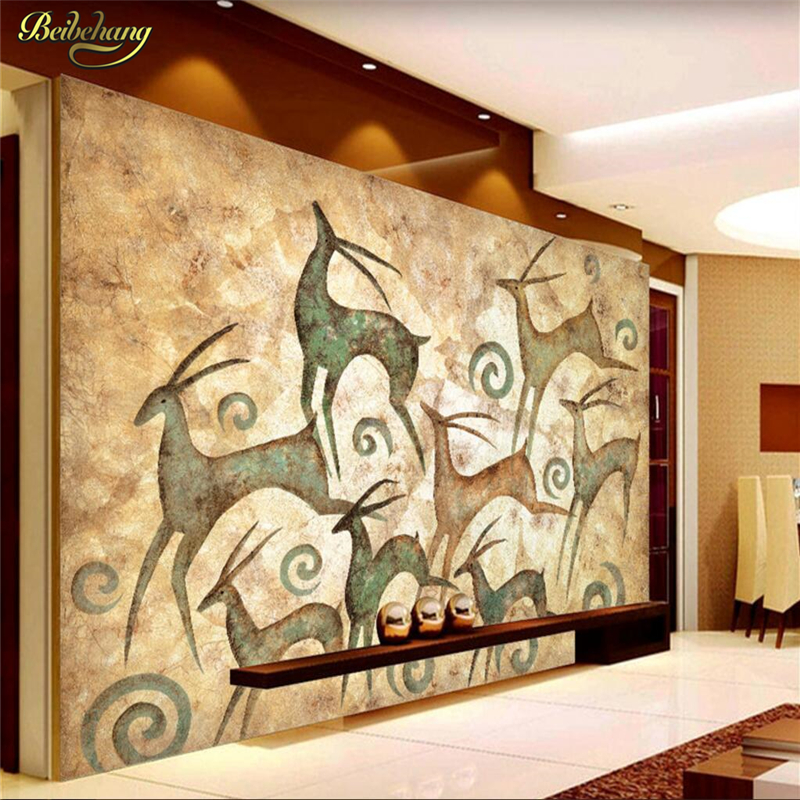 beibehang Retro elk Custom papel de parede 3D Mural Wall paper Art Mural Living Bedroom living Room Photo wallpaper for walls custom 3d wall murals wallpaper luxury silk diamond home decoration wall art mural painting living room bedroom papel de parede