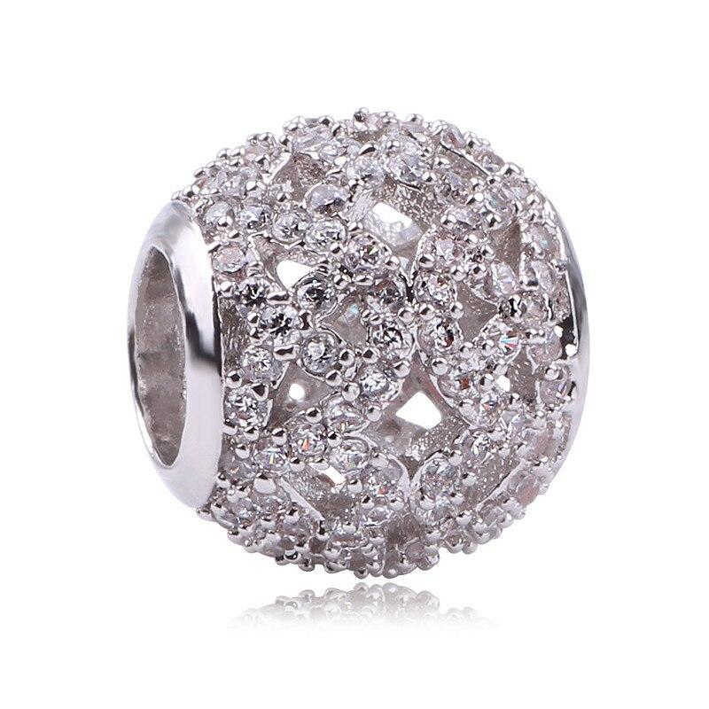 100% Authentic 925 Sterling Silver Hot Cute CZ Charm Beads Fit Pandora Charm Bracelet Pendants DIY Original Jewelry Gift