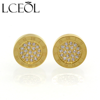 LCEOL New Round Shine AAA Zirconia Earrings For Women Fashion Jewelry Stainless Steel 10MM Diameter Stud