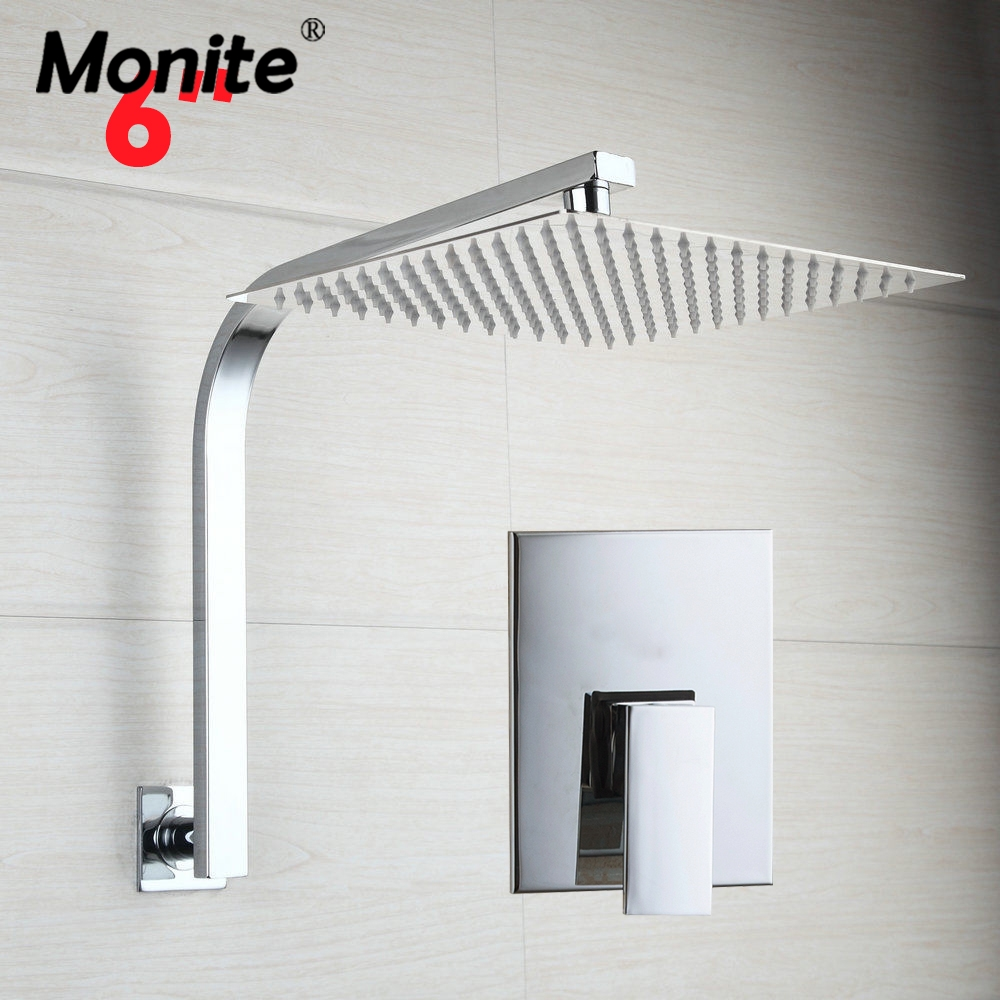 Bathroom Shower Set Wall Mount Brass Mount Bathtub Faucet 6 Rainfall Square Shower Head+Control Valve free shipping bathtub faucet wall mount bathroom brass thermostatic constant temperature control shower valve faucet tap zr954