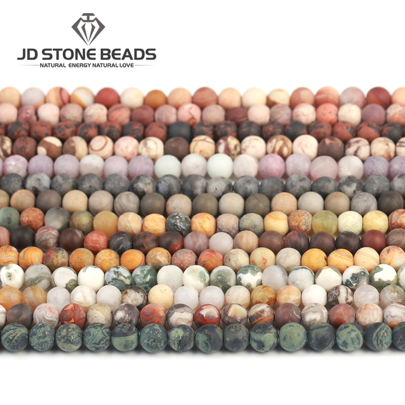 18Colors  New  Frost  Natural Stone Beads For Jewelry Making Matte  Round Loose Beads Wholesale Price Accessories