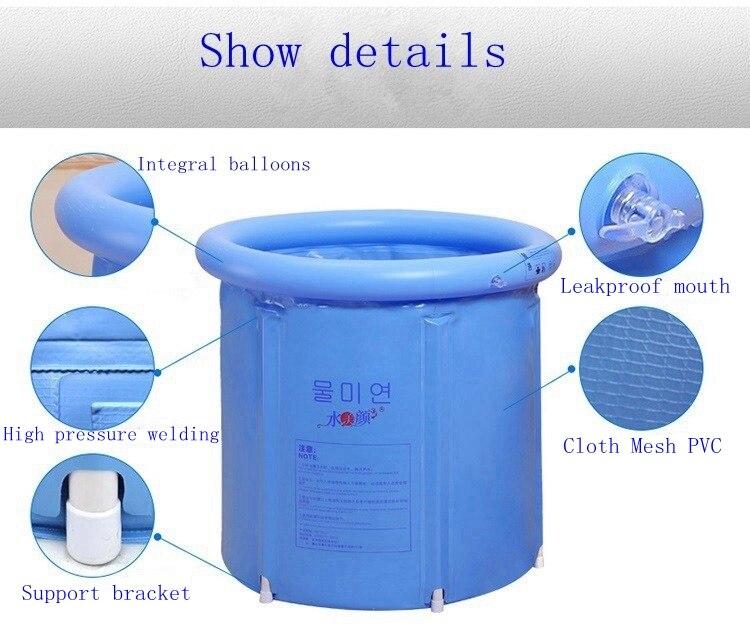Woda piękna Jasnoniebieska składana wanna balia wanna nadmuchiwana - Artykuły gospodarstwa domowego - Zdjęcie 6