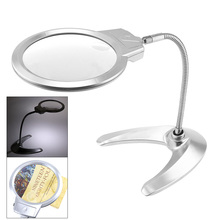цены 2X / 5X Metal Hose Desktop Magnifier Adjustable Magnifying Glass Standing Optical Lens Tool with LED Light for Jewel Repair