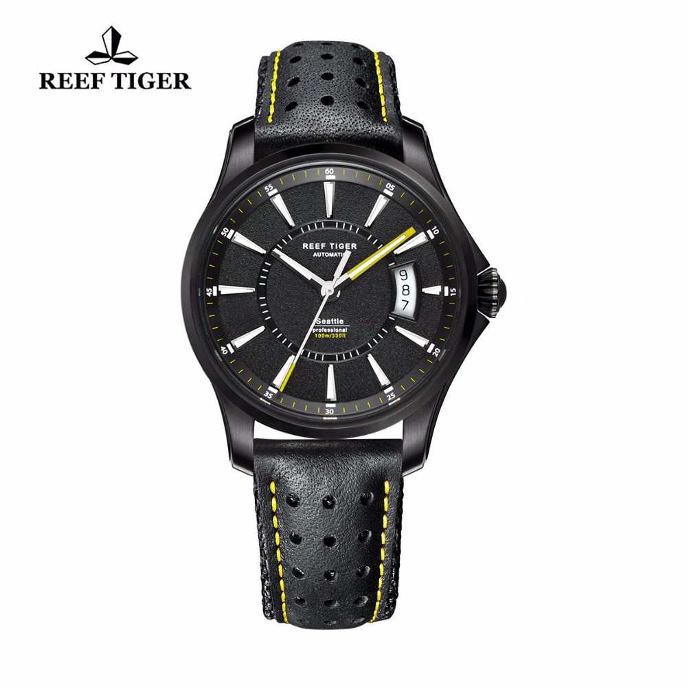 Reef Tiger/RT Watches Seattle Black Steel Case Watch For Mens Big Date Super Luminous Automatic Watches RGA166 2x yongnuo yn600ex rt yn e3 rt master flash speedlite for canon rt radio trigger system st e3 rt 600ex rt 5d3 7d 6d 70d 60d 5d