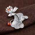 GZ 925 Silver Lotus Pendant 100% Pure S925 Solid Thai Silver Red Cubic Yellow Chalcedony Pendants for Women Men Jewelry Making