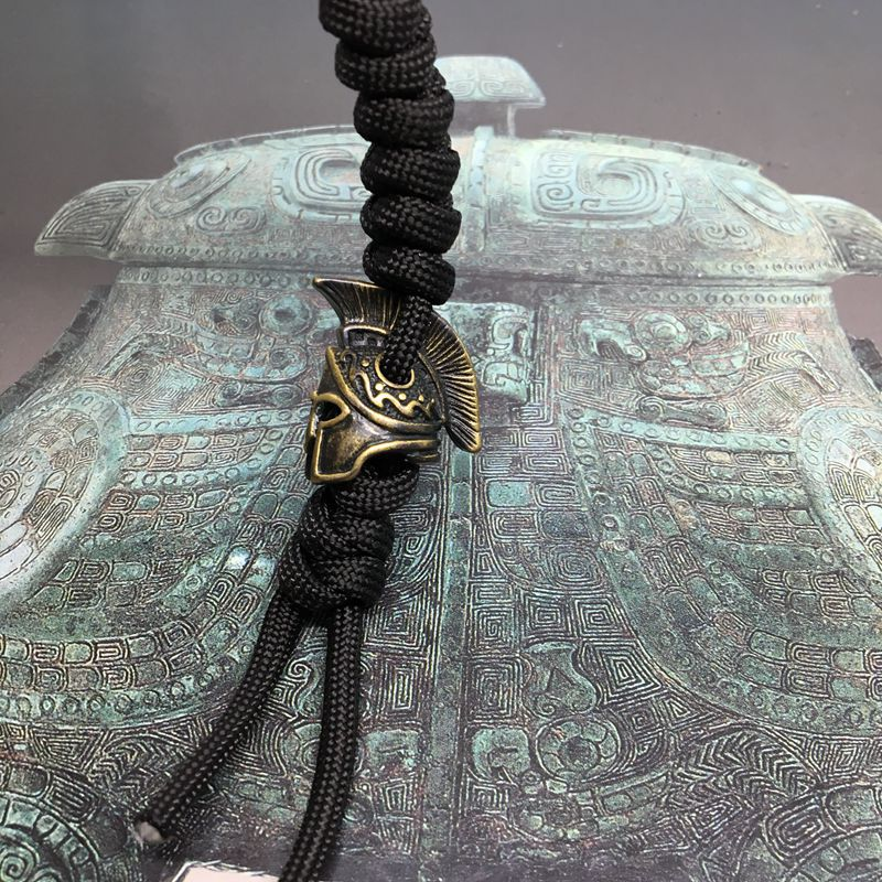 1PC Spartan Warrior Helmet Brass EDC Paracord Beads Knife Beads Rope Cord Bracelet Beads Lanyard Pendants Outdoor Accessories